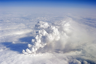 Ash cloud of the Eyjafjallajoekull volcano on the first day of the eruption, aerial view, Iceland, Europe