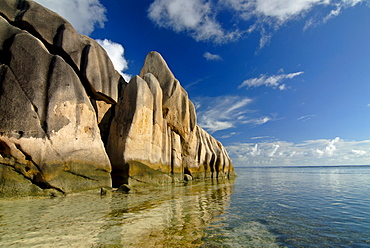 Granite rocks on Source d'Argent beach, La Digue island, Seychelles, Africa