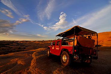 Hummer vehicle on the Slickrock Trail, Moab, Utah, USA, America