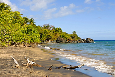 Deserted sandy beach on the island of Mayotte, Africa
