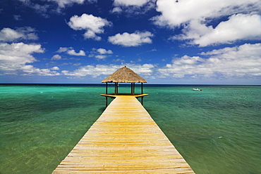 Jetty in the turquoise waters of the Indian Ocean, Mayotte, Africa