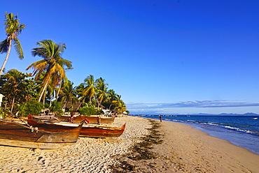 The beach of Ambatoloaka, Nosy Be, Madagascar, Africa