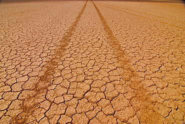 Tyre tracks in a dry lake, Djibouti, East Africa, Africa