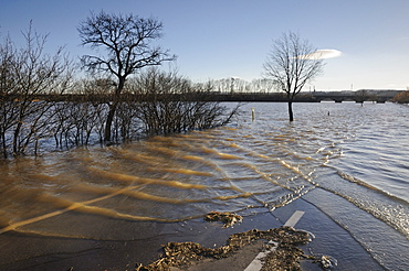 Flooded road, high waters of the Saale river near Naumburg, Saxony-Anhalt, Germany, Europe
