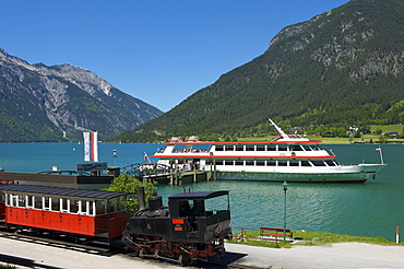 Lake station of the Achenseebahn train, Seealm on Lake Achensee, Tyrol, Austria, Europe