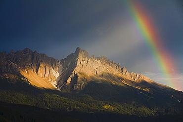 Rainbow over the Rosengarten massif, Dolomites, South Tyrol, Italy, Europe