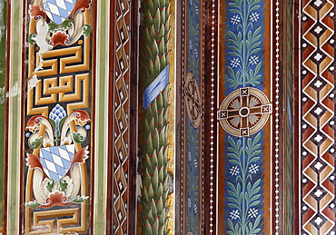 Detail of the ornamentation in the Byzantine-Romanesque votive chapel, Memorial Chapel St. Ludwig to commemorate King Ludwig II near Berg on Lake Starnberger See, Fuenfseenland area, Upper Bavaria, Bavaria, Germany, Europe