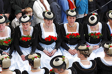 Women wearing traditional costume, Leonhardi procession, Bad Toelz, Isarwinkel, Upper Bavaria, Bavaria, Germany, Europe