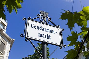 Sign for the square, Gendarmenmarkt, Friedrichstadt, Berlin, Germany, Europe