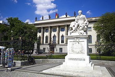 Alexander von Humboldt statue, Humboldt University of Berlin, Unter den Linden, Dorotheenstadt, Berlin, Germany, Europe