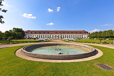 Orangery and courtyard garden, Ansbach, Middle Franconia, Franconia, Bavaria, Germany, Europe