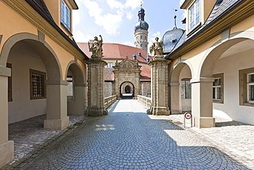 Gate to Weikersheim Castle, Weikersheim, Baden-Wuerttemberg, Germany, Europe