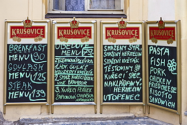 Menu on blackboards, historic town of Prague, Czech Republic, Europe