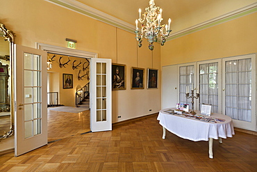 Interior, Schloss Callenberg palace, hunting lodge and summer residence of the Dukes of Saxe-Coburg and Gotha, Coburg, Upper Franconia, Bavaria, Germany, Europe