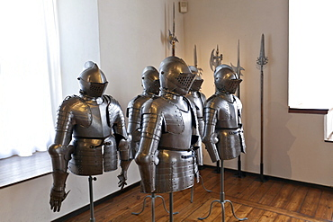 Knights' armours, weapons and art museum in the Veste Coburg castle, Coburg, Upper Franconia, Franconia, Bavaria, Germany, Europe
