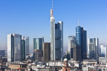 View of Frankfurt and its skyline, Commerzbank, Hessische Landesbank, Deutsche Bank, European Central Bank, Skyper building, Sparkasse, DZ Bank, Paulskirche Church, Roemer city hall, Frankfurt am Main, Hesse, Germany, Europe