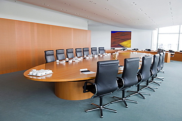 Empty cabinet table, Bundeskanzleramt Federal Chancellery, Berlin, Germany, Europe