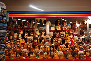 The window of a wig shop in a mall, Nuremberg, Middle Franconia, Bavaria, Germany, Europe