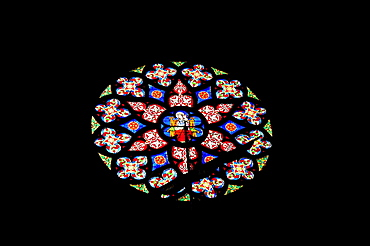 Rosette with stained glass, lead glass window, Notre Dame du Sablon Church, Zavel Kerk, city centre, Brussels, Belgium, Benelux, Europe