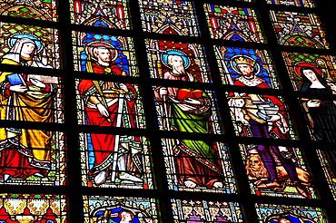 Stained glass windows depicting religious figures, Notre Dame du Sablon Church, Zavel Kerk, city centre, Brussels, Belgium, Benelux, Europe