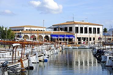 Boats in the harbour, marina of Puerto de Pollensa, Port de Pollenca, Mallorca, Majorca, Balearic Islands, Mediterranean Sea, Spain, Europe