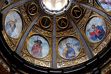 Place of pilgrimage, ceiling painting in the church cupola, monastery Santuari de Lluc in the Tramuntana mountains, Majorca, Balearic Islands, Mediterranean, Spain, Europe