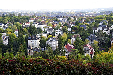 View from the Neroberg hill towards an exclusive villa quarter, Wiesbaden, capital of Hesse, Germany, Europe