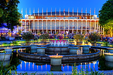 The Concert Hall, in twilight, Tivoli, Copenhagen, Denmark, Europe