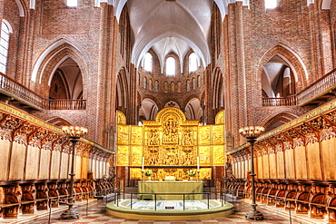 The altar in Roskilde Cathedral in Denmark, Europe
