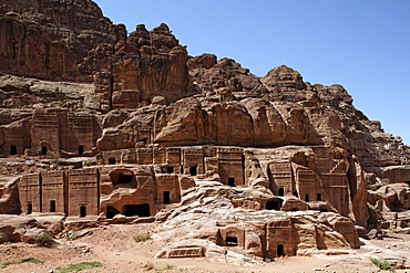 Rock tombs, Petra, the capital city of the Nabataeans, rock city, UNESCO World Hertage Site, Wadi Musa, Hashemite Kingdom of Jordan, Orient, Middle East, Asia