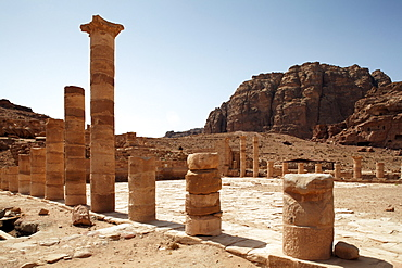 Great Temple, columns, Petra, the capital city of the Nabataeans, rock city, UNESCO World Hertage Site, Wadi Musa, Hashemite Kingdom of Jordan, Orient, Middle East, Asia