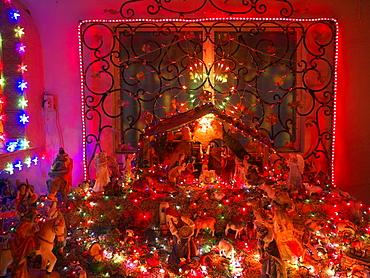 Illuminated nativity scene, Playa del Carmen, Yucatan, Mexico, America