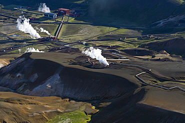 Aerial view, Krafla Geothermal Power Station, Krafla, Lake Myvatn, North Iceland, Iceland, Europe
