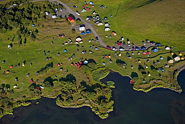 Aerial view, camping ground at Lake Myvatn, North Iceland, Iceland, Europe