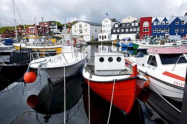 Boats in the port of Torshavn, Streymoy island, Faroe Islands, North Atlantic