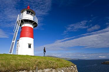 Lighthouse of Skansin, historic fort in Torshavn, Streymoy island, Faroe Islands, North Atlantic