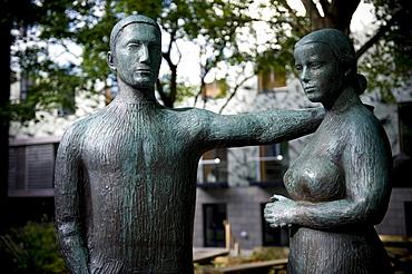 Sculpture in Torshavn, Streymoy island, Faroe Islands, North Atlantic