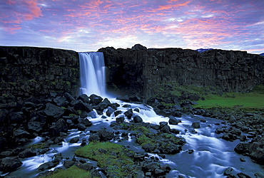 Oexararfoss waterfall, Thingvellir, fiingvellir, Iceland, Europe