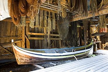 Interior of the Museum of Nusfjord, Flakstadoya, island of Vestvagoya, Lofoten, Norway, Scandinavia, Europe