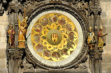 Calendar dial of the Prague Astronomical Clock on the clock tower of the Old Town City Hall, Old Town Square, historic district, Prague, Bohemia, Czech Republic, Europe