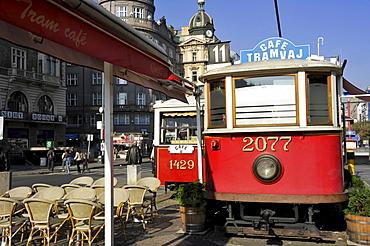 Old railway cars, Tram Cafe, Wenceslas Square, Prague, Bohemia, Czech Republic, Europe