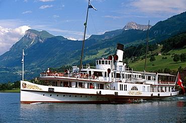 Paddle steamer in Buochs, Lake Lucerne, Switzerland, Europe