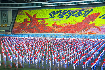 Dancers and acrobats at the Arirang Festival, the North Korean Grand Mass Gymnastics and Artistic Performance, Pyongyang, North Korea, Asia