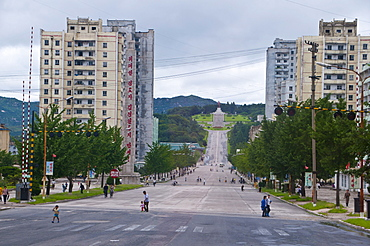 Car-free streets and communist residential buildings in Kaesong, North Korea, Asia