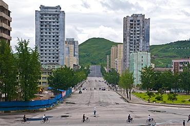Run-down prefabricated concrete housing blocks, Kaesong, North Korea, Asia