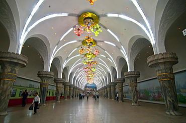 The subway in Pyongyang, North Korea, Asia