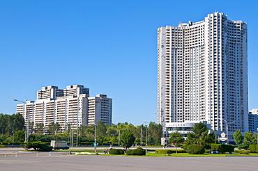 Satellite town in Pyongyang, North Korea, Asia