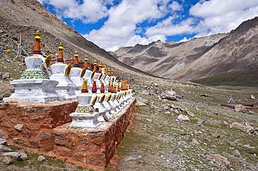 Stupas along the Mt. Kailash Kora pilgrimage route, Western Tibet, Asia
