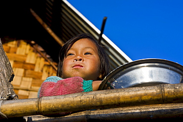 Young girl from the Apatani ethnic group, Arunachal Pradesh, North East India, India, Asia