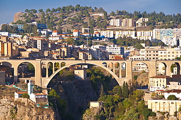 Pont Sidi M'Cid bridge with the Marabout of Sidi Rached, Constantine, Algeria, Africa